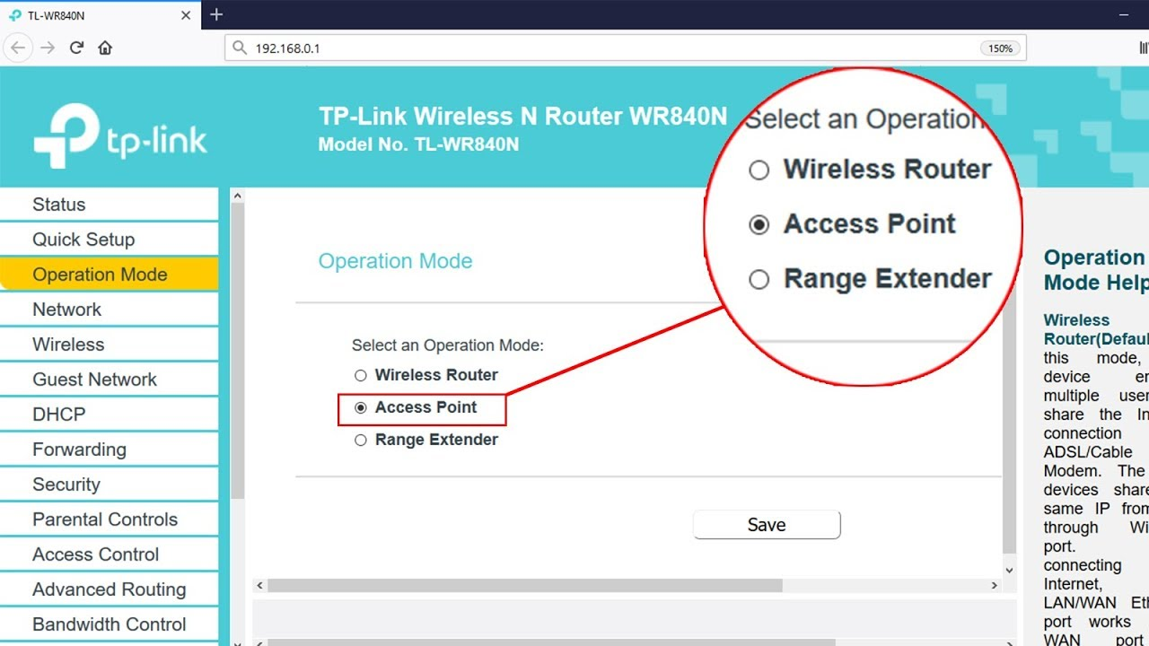 Setup ACCESS POINT mode on TP-LINK TL-WR840N