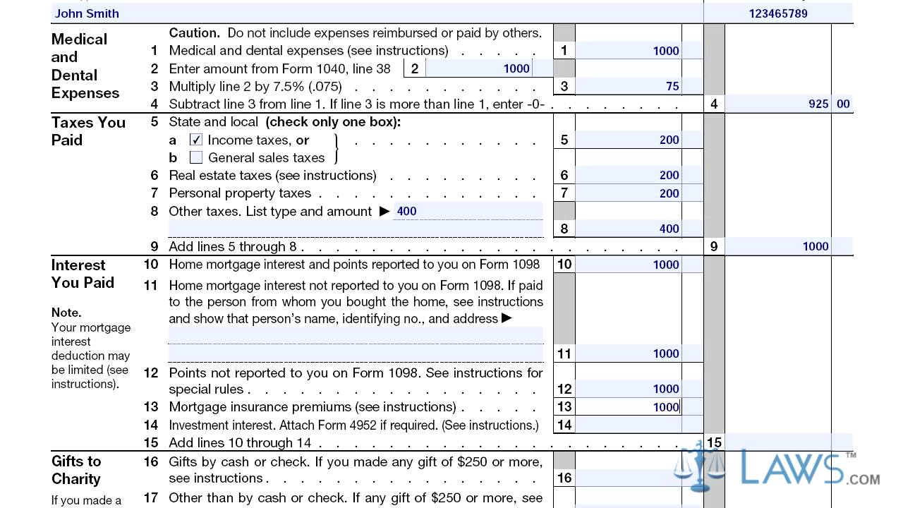 Itemized Deductions Form Schedule A