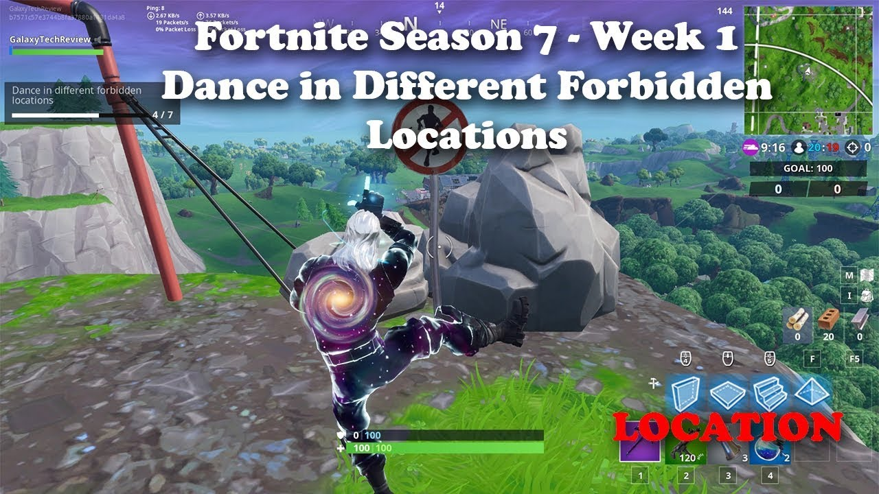 Fortnite Season 7 Week 1 Dance In Different Forbidden Locations