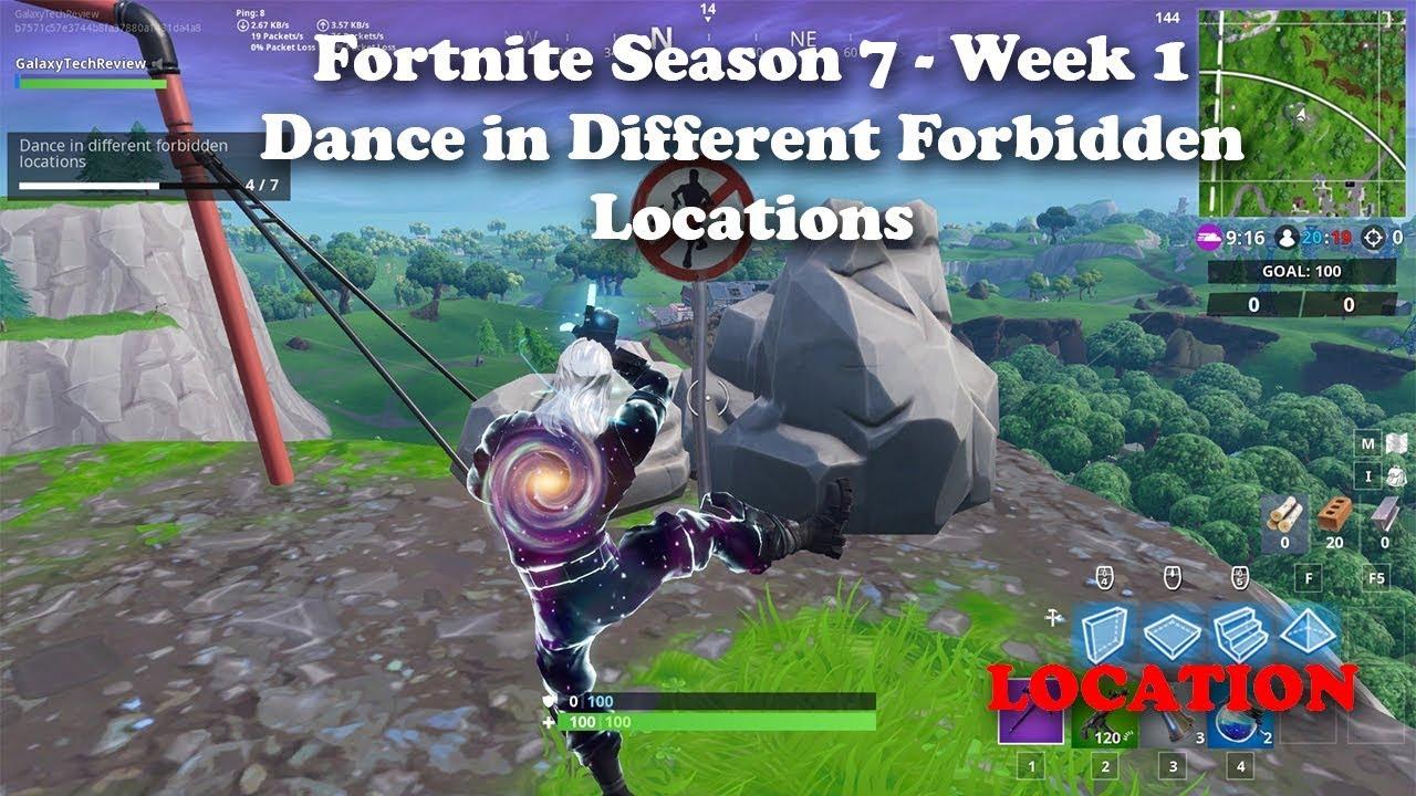 Fortnite Season 7 Week 1 Dance In Different Forbidden Locations