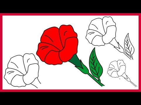 How to Draw a Rose for Kids - Easy Step By Step Drawing Lessons for Kids - YouTube