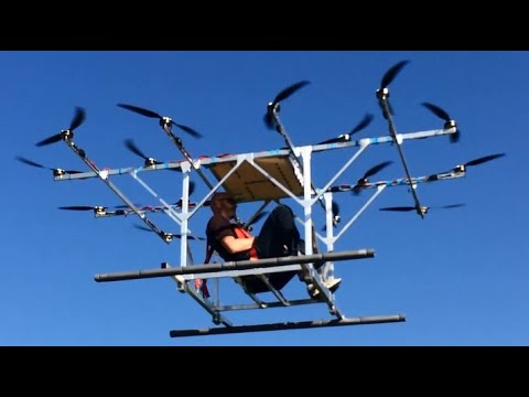 Manned drone first flight