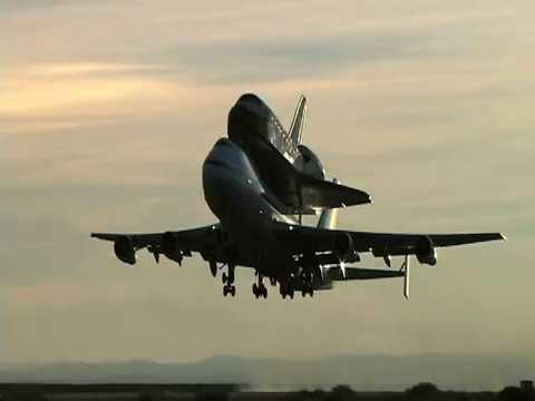 Early morning Takeoff of Space Shuttle Atlantis from Edward AFB, California Atop NASA's 747