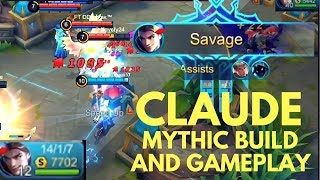 CLAUDE SAVAGE AND ITEM BUILD IN MYTHIC RANK GAME | Shinmen Takezo | Mobile Legends