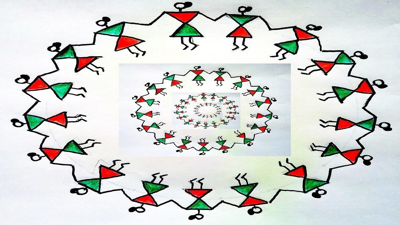 Warli Painting for Kids. DIY Easy Warli art. Warli circle ...