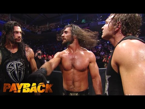 WWE Network: Rollins, Reigns and Ambrose Triple Power Bomb Randy Orton through the announce table