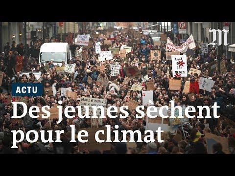Des jeunes Belges en grève contre le changement climatique