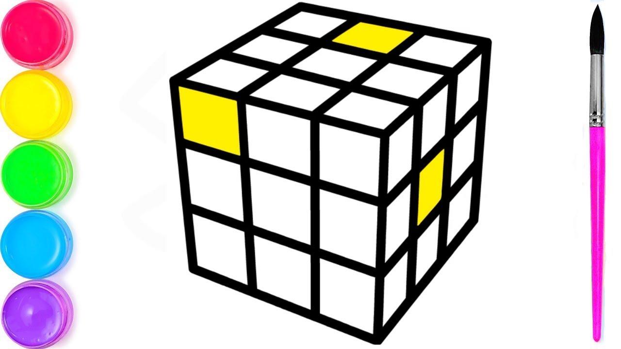 как рисовать куб | куб раскраски | я изучаю английский ...