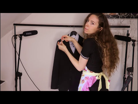 Cleaning And Dusting Your Suit - ASMR - Brushing, Tape, Cutting....  Maid roleplay