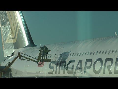 Singapore airlines sq317 a380 emergency door seal repair london heathrow airport