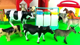Farm Animals/Milkman delivery/Getting milk from Cows/Learn ZOO Animals/Children fun Learn
