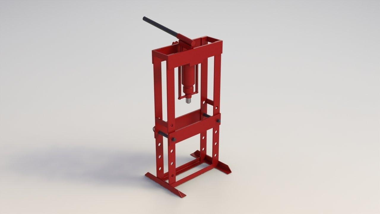 HYDRAULIC PRESS 10 TON / PRENSA HIDRÁULICA 10 TON || Download free 3D cad  models #100066