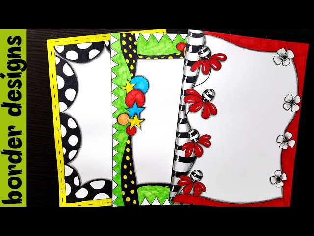 Zenart | Border designs on paper | border designs | project work designs | borders for projects