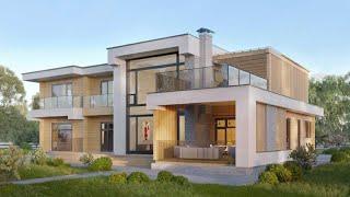 Проект дома в стиле Хай Тек. Дом Хай Тек из стекла и бетона с террасами. Ремстройсервис RH-582