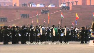 Parade marching and beating the drums by army unit at Rashtrapati Bhawan