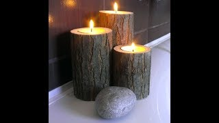 wooden candle light holders / home decorating ideas
