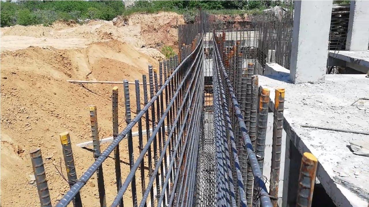 Basement Rcc Retaining wall reinforcement construction