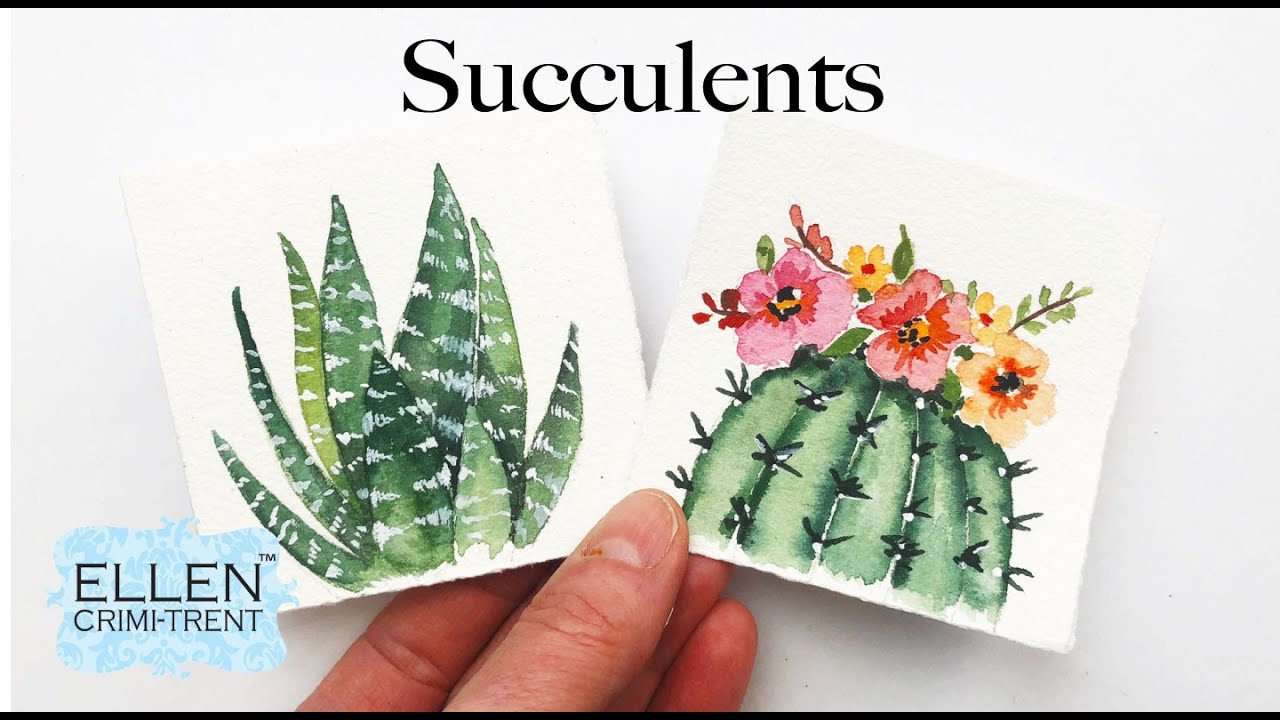 Watercolor Succulents Tutorial