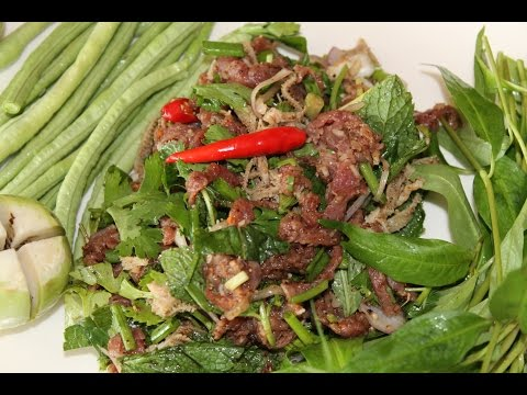 Recette du Laos: Salade de Boeuf cru (lap ngoua dip) - Cooking With Morgane