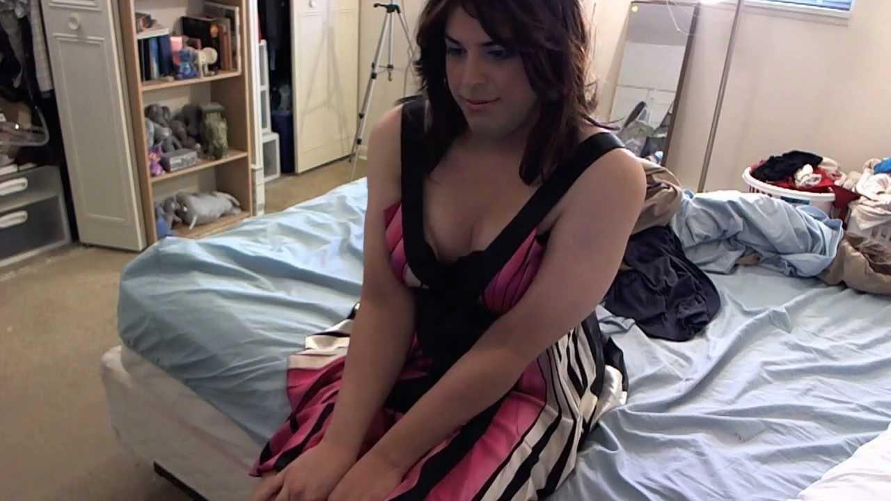 crossdresser in pink cocktail dress - youtube