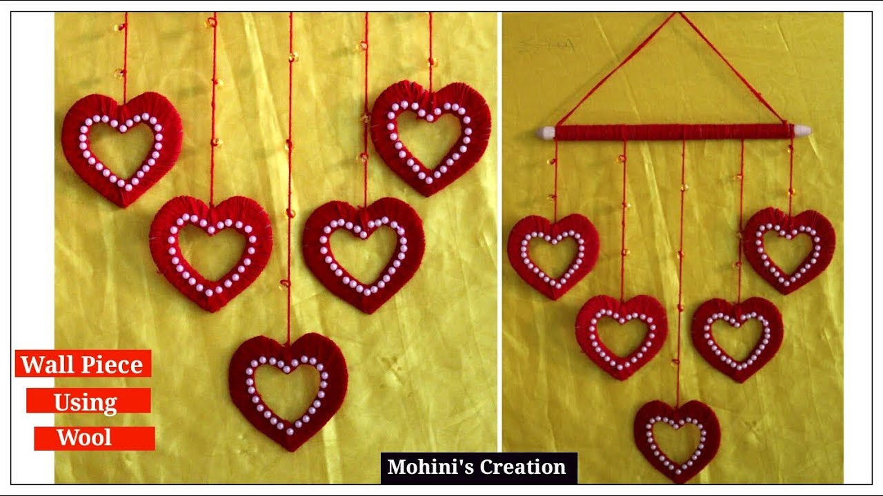 how to make heart wall piece using Wool and cardboard for home decor ...