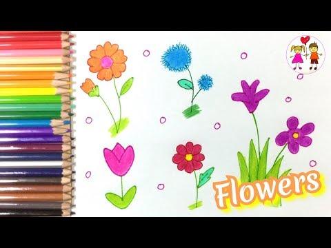 How to draw and color flowers.  สอนวาดรูประบายสี ดอกไม้   Art4 kids
