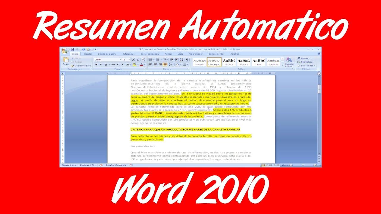 como hacer un resumen automatico en un documento de word