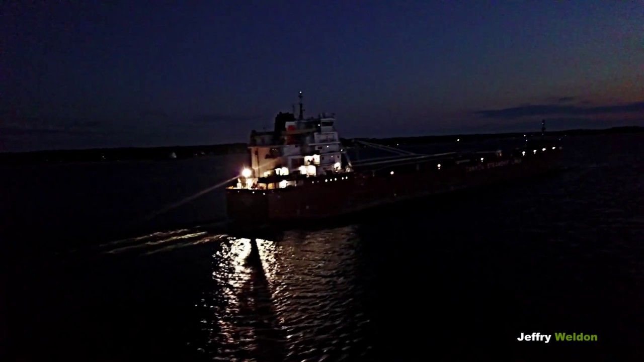 Night aerial view of Ship at Rock Island Lighthouse