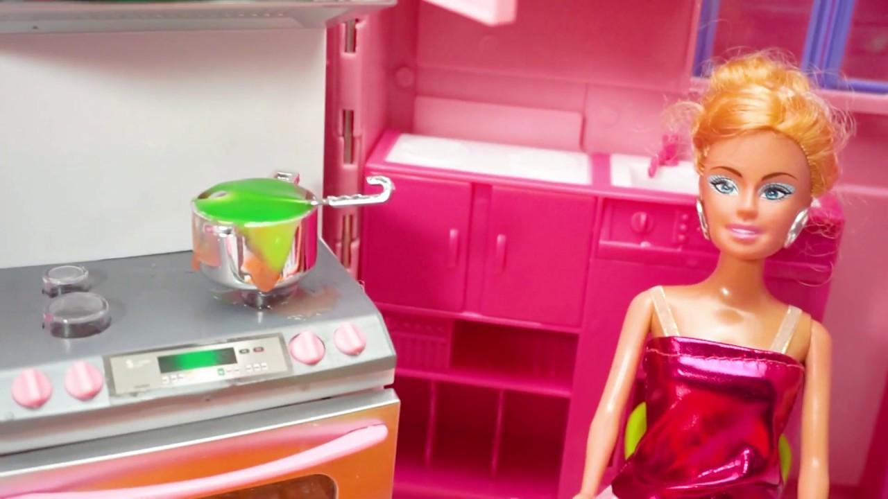 Barbie Masak Mainan Masak Masakan Anak Perempuan Mainan مطبخ باربي Barbie Cooking Toys Youtube