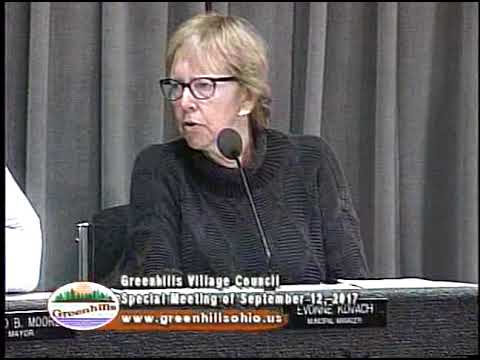 Greenhills Village Council Special Meeting of September 12, 2017