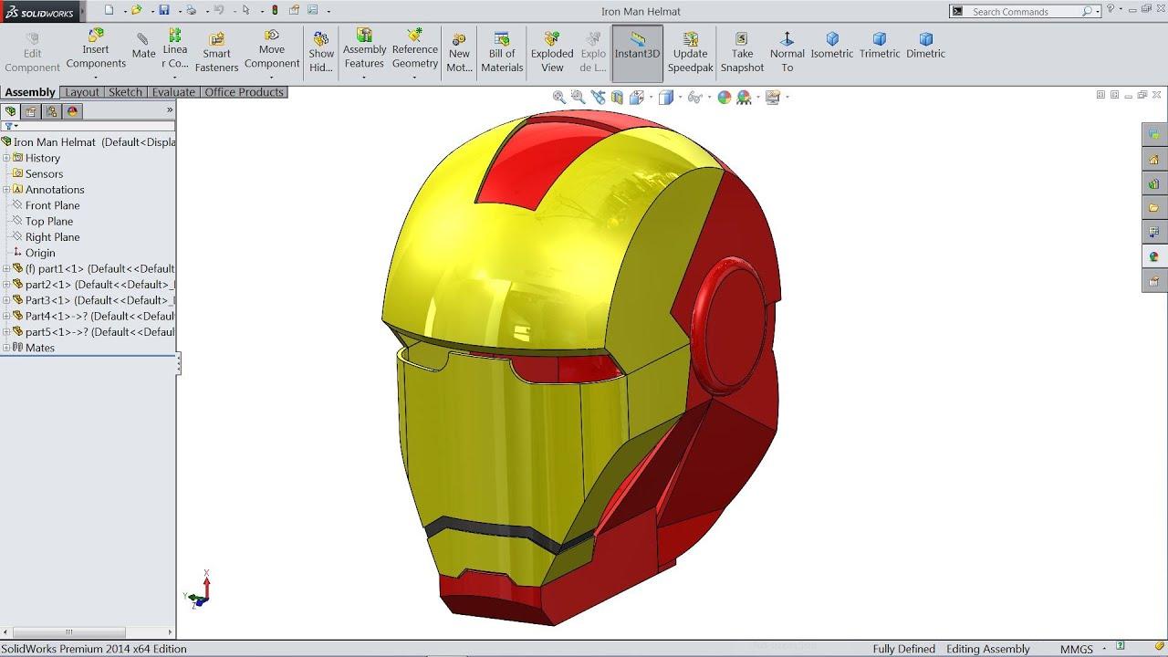 Solidworks Iron Man Mask Helmet tutorial