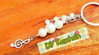 DIY keychain / How to make pearl Keychain / music note charm keychain
