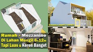 Rongga atap dijadiin mezzanine! Rumah 6x12 m ini dilengkapi 3 kamar tidur dan studio gaming
