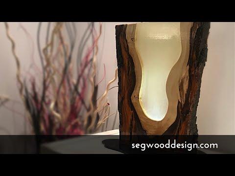 Epoxy L.E.D. lamp - poplar wood, clear epoxy and phosphorescent pigment