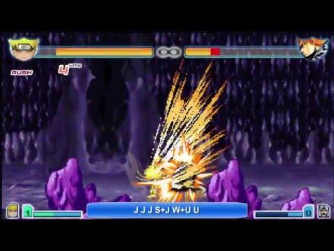 Bleach Vs Naruto 2.5 - Naruto (Nine-Tails Chakra Mode) Combo Tutorial