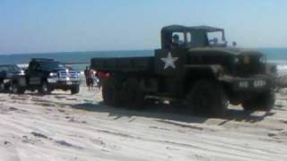 1961 5 TON PULLING A F450 AND SILVERRADO OUT OF THE SAND!