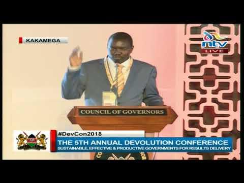 Governor Jackson Mandago lectures Senator Murkomen at the devolution conference