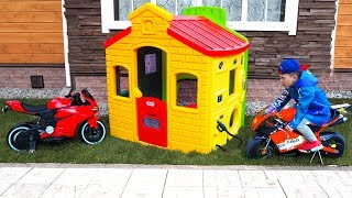 Senya builds a new house gas station for mini bike