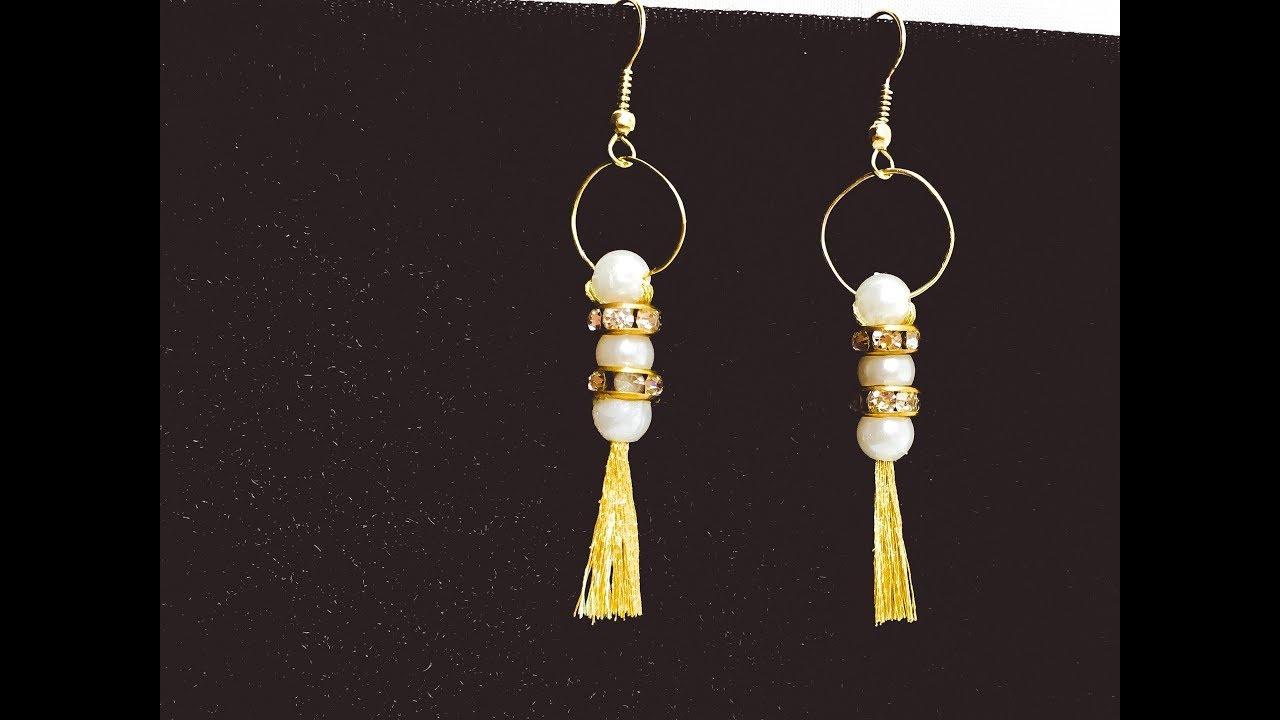 how to make easy diy earrings حلق جميل (اقراط)بطريقة سهلة