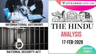 17-Feb-2020 | Daily Current Affairs | The Hindu Analysis | UPSC CSE 2020/2021 | Saurabh Pandey