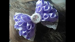 Lush purple bow/ украшение на заколку Канзаши / Пышный лиловый бант