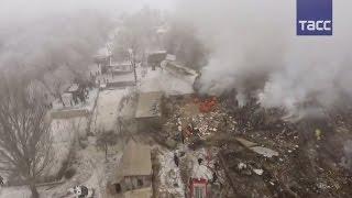 Дрон заснял разрушения на месте катастрофы Боинга под Бишкеком