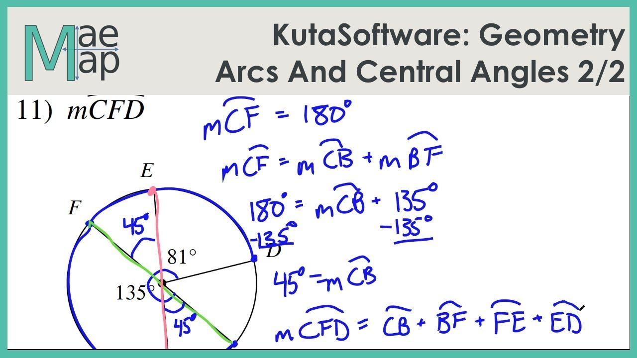 Kutasoftware Geometry Arcs And Central Angles Part 2