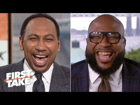 Stephen A. and Marcus Spears' Mahomes vs. Watson debate interrupted by steamboat music | First Take