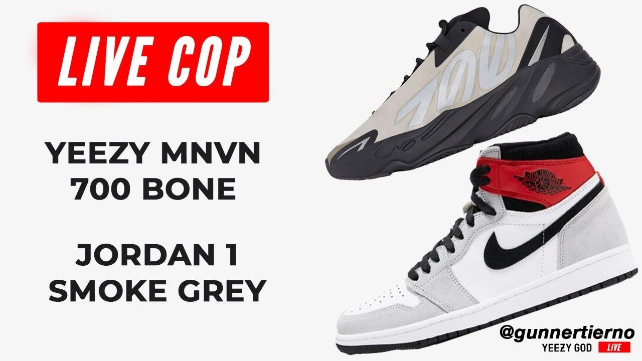 Yeezy 700 MNVN Bone & Jordan 1 Smoke Grey Live Cop | How to Cop Yeezy Supply Live Stream