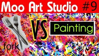 Erstellen eine Abstrakte Malerei mit einem Gabel | DIY-Kunst | VS Malerei Episode 09