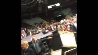 Donald Trump talks to Paula Jones at Little Rock Arkansas rally