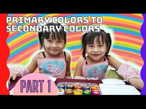 MAGIC??   LEARNING COLORS part 1   PRIMARY TO SECONDARY COLORS   3 YEARS OLD TWINS  