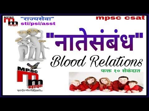 नाते संबंध Blood Relations || MPSC Csat lecture in marathi || - reasoning for mpsc