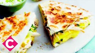 Chicken, mango and brie quesadillas